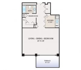 Large Studio 825 sq. ft.