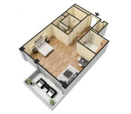 Large Studio 3D 825 sq. ft.
