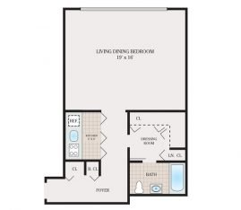 Medium Studio 624 sq. ft.