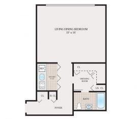 Medium Studio 624 sq. ft.