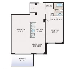 One Bedroom 1064 sq. ft.