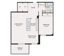 One Bedroom 1101 sq. ft.