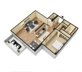 One Bedroom 3D 1064 sq. ft.