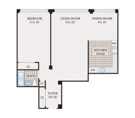 One Bedroom 825 sq. ft.