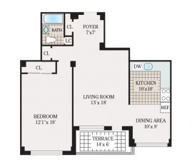 One Bedroom 874 sq. ft.