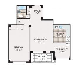 One Bedroom 874 sq. ft.
