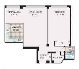 One Bedroom 927 sq. ft.