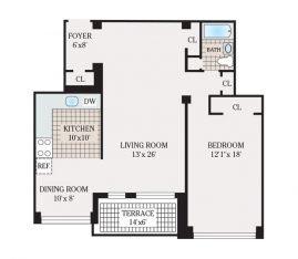 One Bedroom 976 sq. ft.