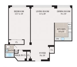 One Bedroom 989 sq. ft.