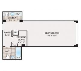 Small Studio 458 sq. ft.