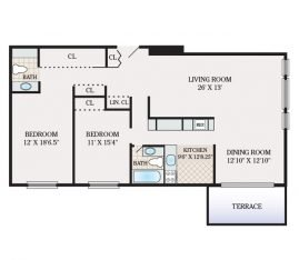 Two Bedroom 1458 sq. ft.