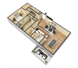 Two Bedroom 3D 1458 sq. ft.