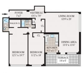 Two Bedroom 1536 sq. ft.